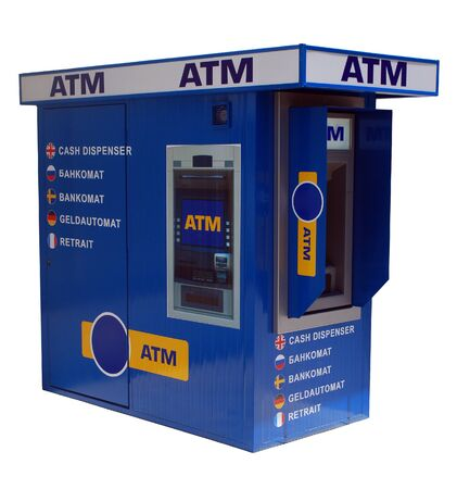 ATM Cash Machine Isolated on White Background