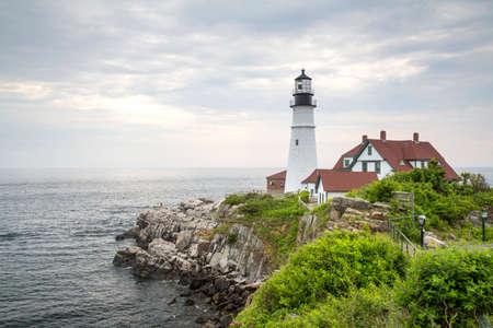 Portland Head Light is a historic lighthouse in Cape Elizabeth, Maine Stock Photo