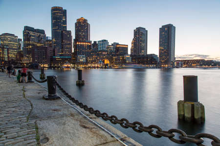 Boston, Skyline of Bostons Financial District at sunset Stock Photo