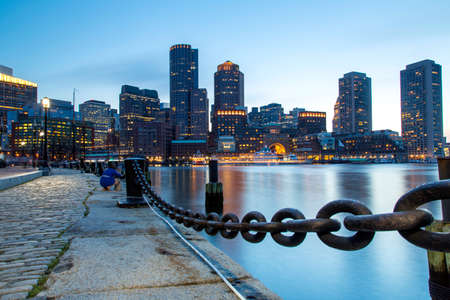 Boston, Skyline of Bostons Financial District at sunset Editorial