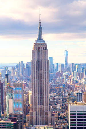 New York, a panoramic view of Manhattan as seen from the top of skyscraper 写真素材