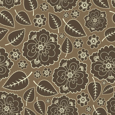 textile image: Brown leafs and flowers - seamless pattern