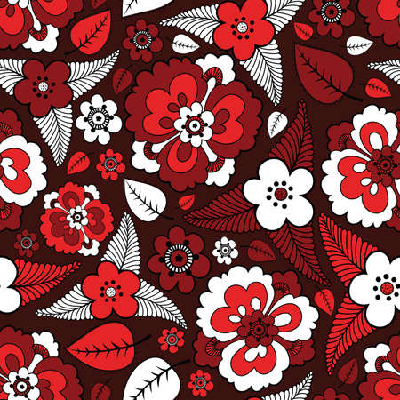 Colorful leafs and flowers - seamless pattern