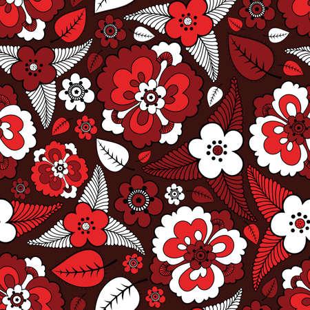 Färgglada blad och blommor - sömlösa mönster Illustration