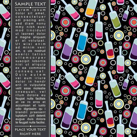 Colorful bottles on black background Vector