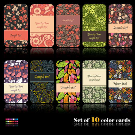 Set of ten colorful autumn cards Ilustração