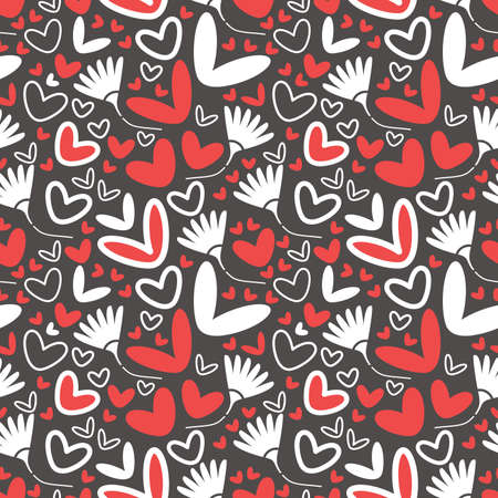 Hearts and flowers - seamless pattern Vector