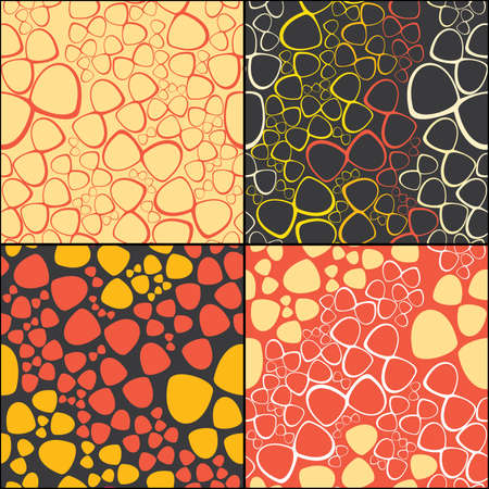 Set of four decorative elements - seamless pattern Vector