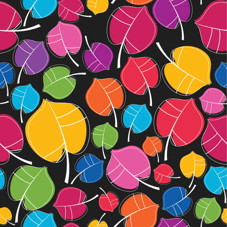 Colorful leafs - seamless pattern Vector