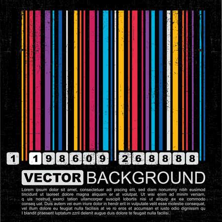Grunge barcode background - vector