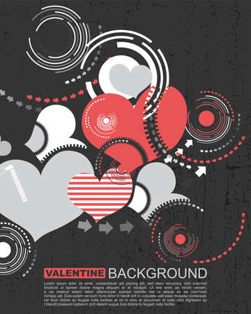 Retro grunge hearts- Vector background Vector