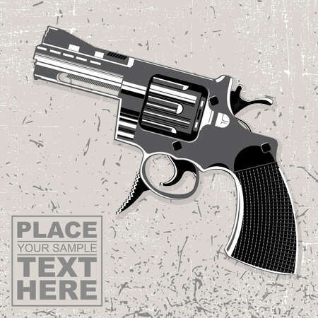violence and trigger: The vector image of the weapon on grunge background Illustration