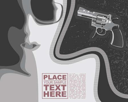 gun fight: Girl and revolver on grunge background