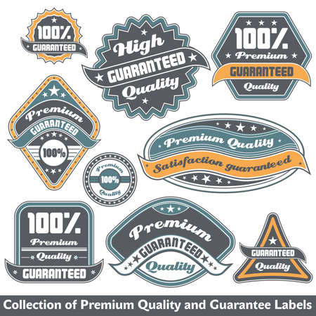 quality stamp: Premium quality and guarantee label collection