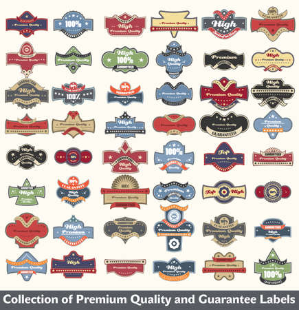 Premium quality and guarantee label collection Фото со стока - 12344918