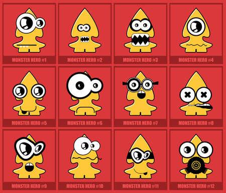 Twelve colorful monsters Vector
