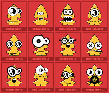 Twelve colorful monsters Vector