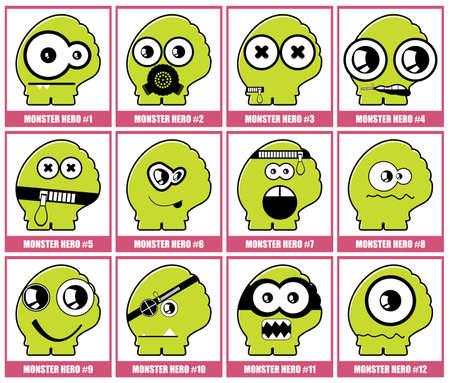 Twelve colorful monsters Stock Vector - 12492537