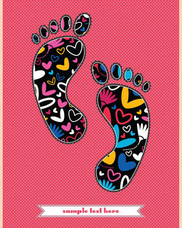 Flowers and hearts on the foot Vector