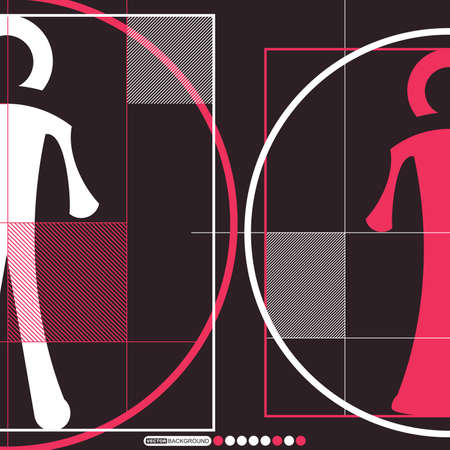Woman and man in circles Vector
