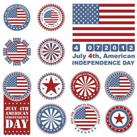 Independence Day- 4 of July - set of design elements Vector