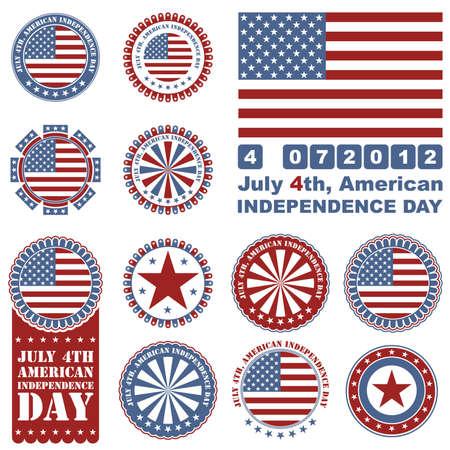 old flag: Independence Day- 4 of July - set of design elements Illustration
