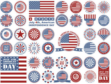 th: Independence Day- 4 of July - set of design elements Illustration