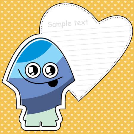 Cartoon monster with message cloud Vector