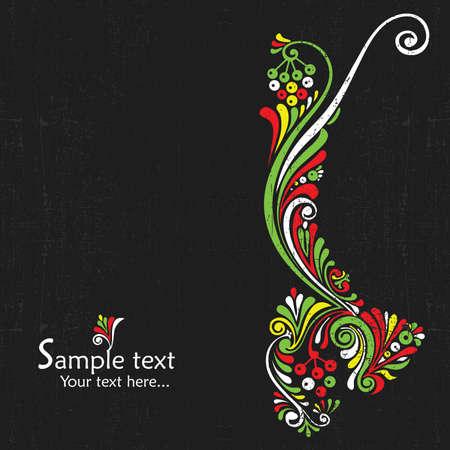 floral ornament: Vintage card design for greeting card, invitation, menu, cover on black background