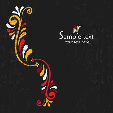 Vintage card design for greeting card, invitation, menu, cover on black background Stock Vector - 13647360