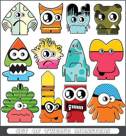Set of twelve monsters Stock Vector - 13779897