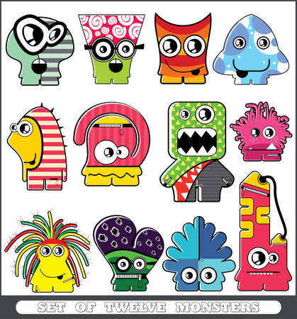 Set of twelve monsters Stock Vector - 13779949