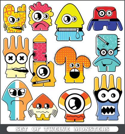 Set of twelve monsters Stock Vector - 13779944