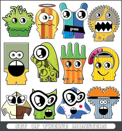 Set of twelve monsters Stock Vector - 13779952