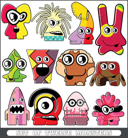 Set of twelve monsters Stock Vector - 13779912