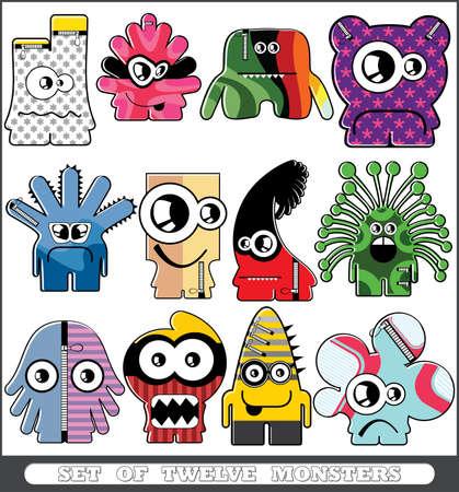 Set of twelve monsters Stock Vector - 13779948