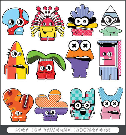Set of twelve monsters Stock Vector - 13779954