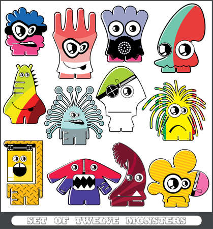 Set of twelve monsters Stock Vector - 13779941