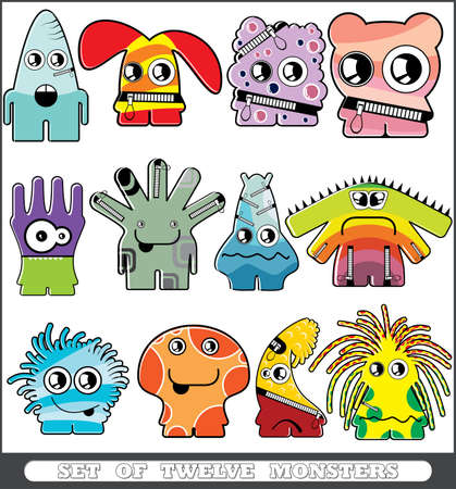 Set of twelve monsters Stock Vector - 13779950