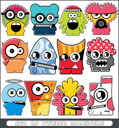 Set of twelve monsters Stock Vector - 13779968