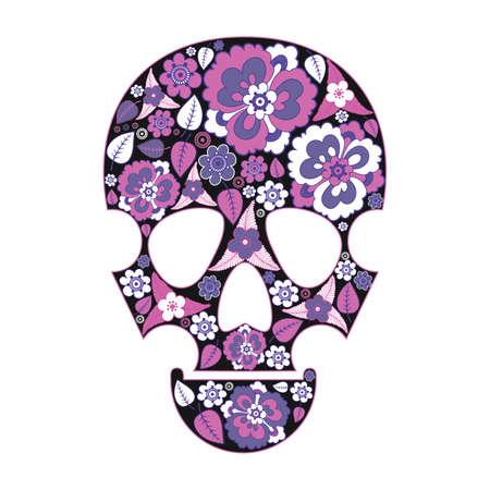 good color: Skull in flowers