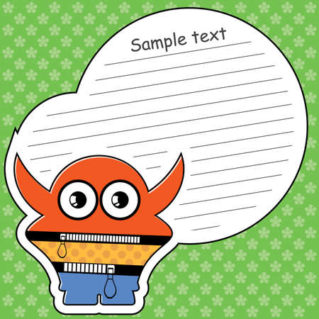 Cartoon monster with message cloud Stock Vector - 14019317