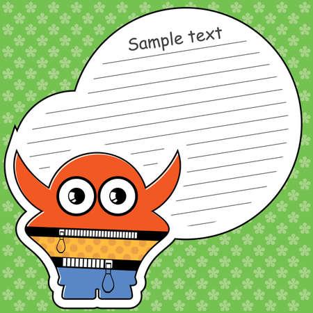 Cartoon monster with message cloud Stock Vector - 14019317