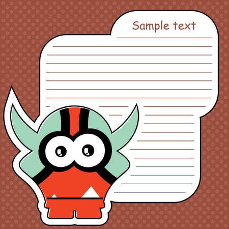 Cartoon monster with message cloud Stock Vector - 14019343