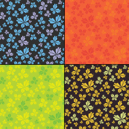 Set of four butterfly seamless pattern Vector