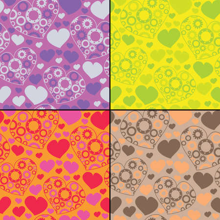 Set of four hearts with gear - seamless pattern Stock Vector - 14092026
