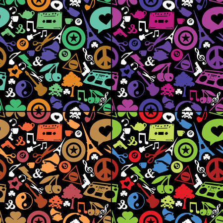Different objects on black background - seamless pattern Vector