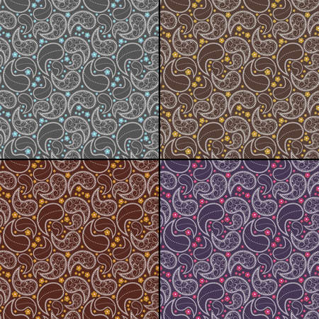 Set of four decorative seamless Vector