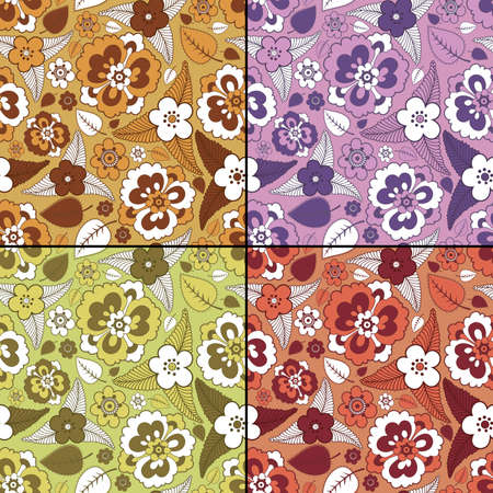 Set of four floral seamless pattern Vector