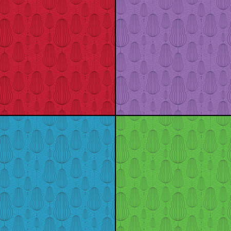 Set of four Colorful decorative elements - seamless pattern Vector